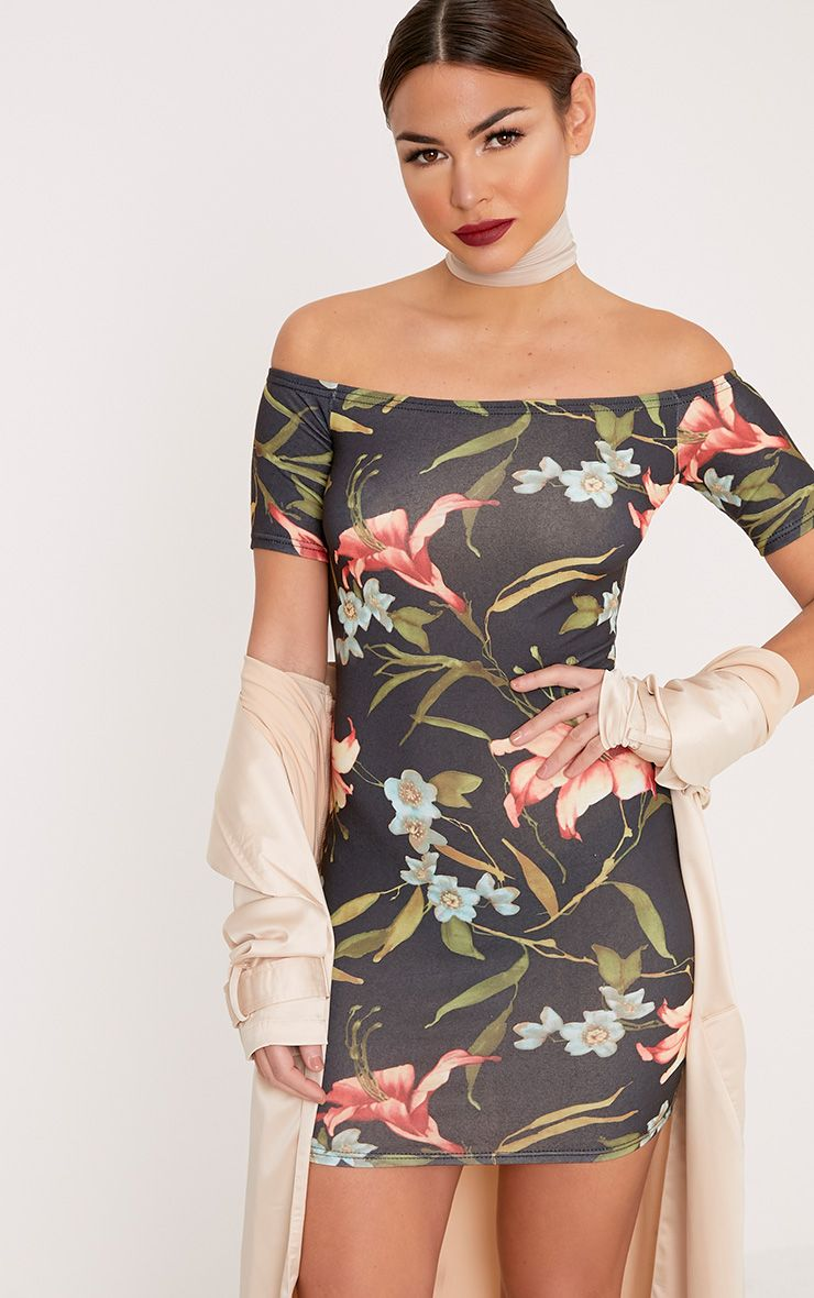 Jenah Multi Floral Bardot Cap Sleeve Bodycon Dress