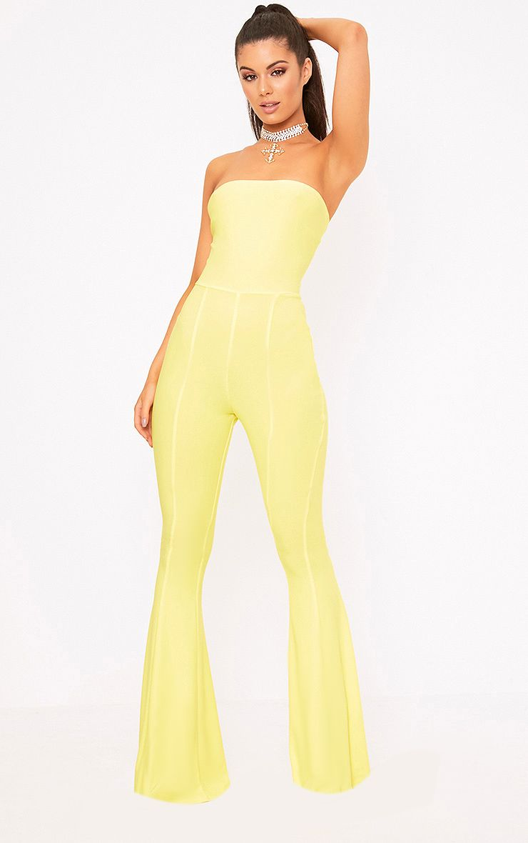 Yellow Bandeau Wide Leg Jumpsuit