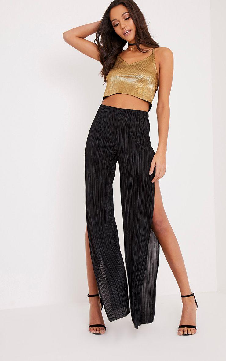 Dena Black Pleated Side Split Trousers