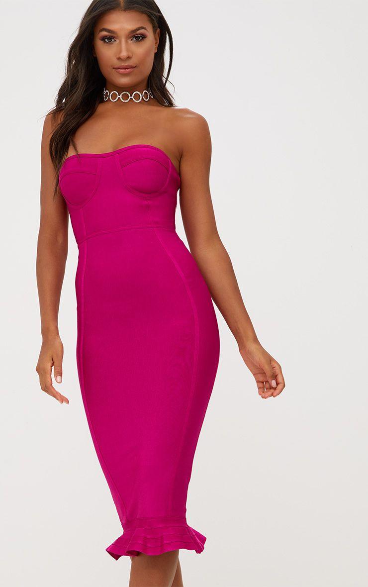 Fuchsia Pink Bandage Frill Hem Midi Dress