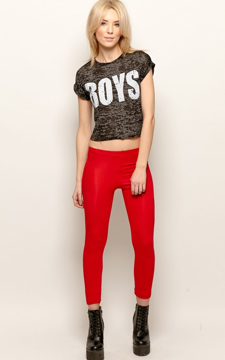 Sofie Red Jersey Leggings 1