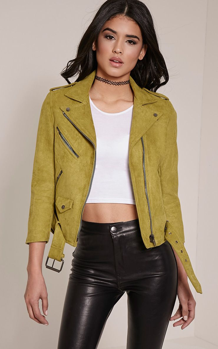 Sloane Olive Faux Suede Premium Biker Jacket 1