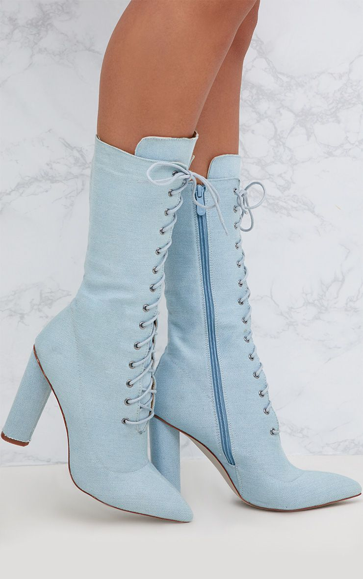 Blue Denim Lace Up Pointed Heeled Boots