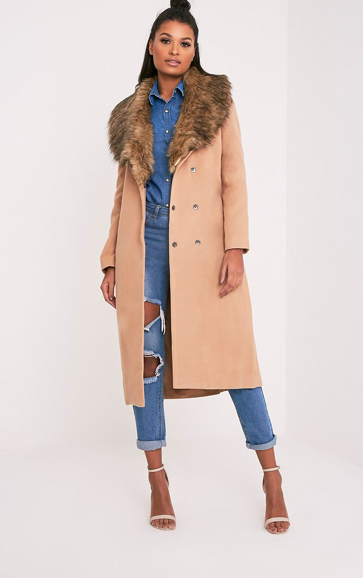 Camel Faux Fur Collar Double Breasted Coat