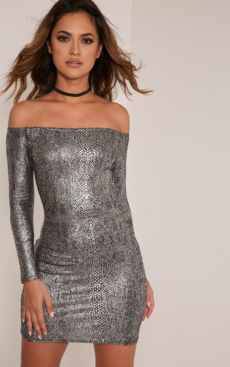 Nila Grey Snake Print Bardot Bodycon Dress