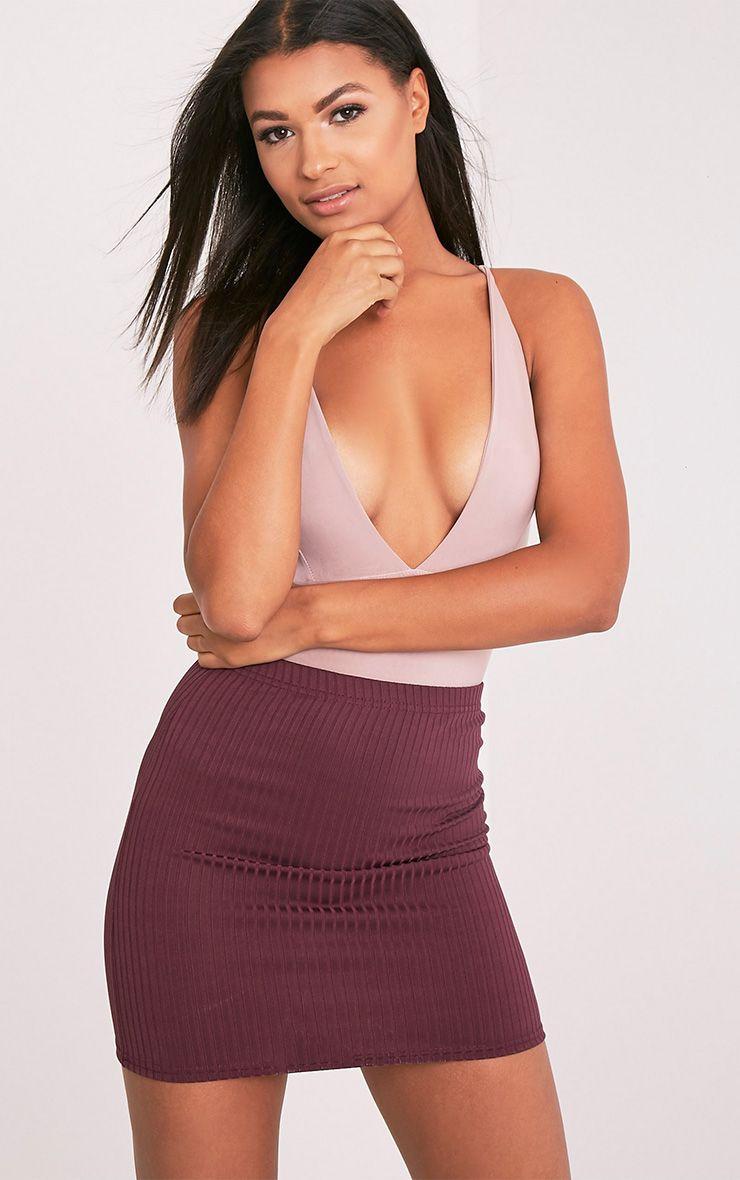 Kristine Aubergine Ribbed Mini Skirt 1