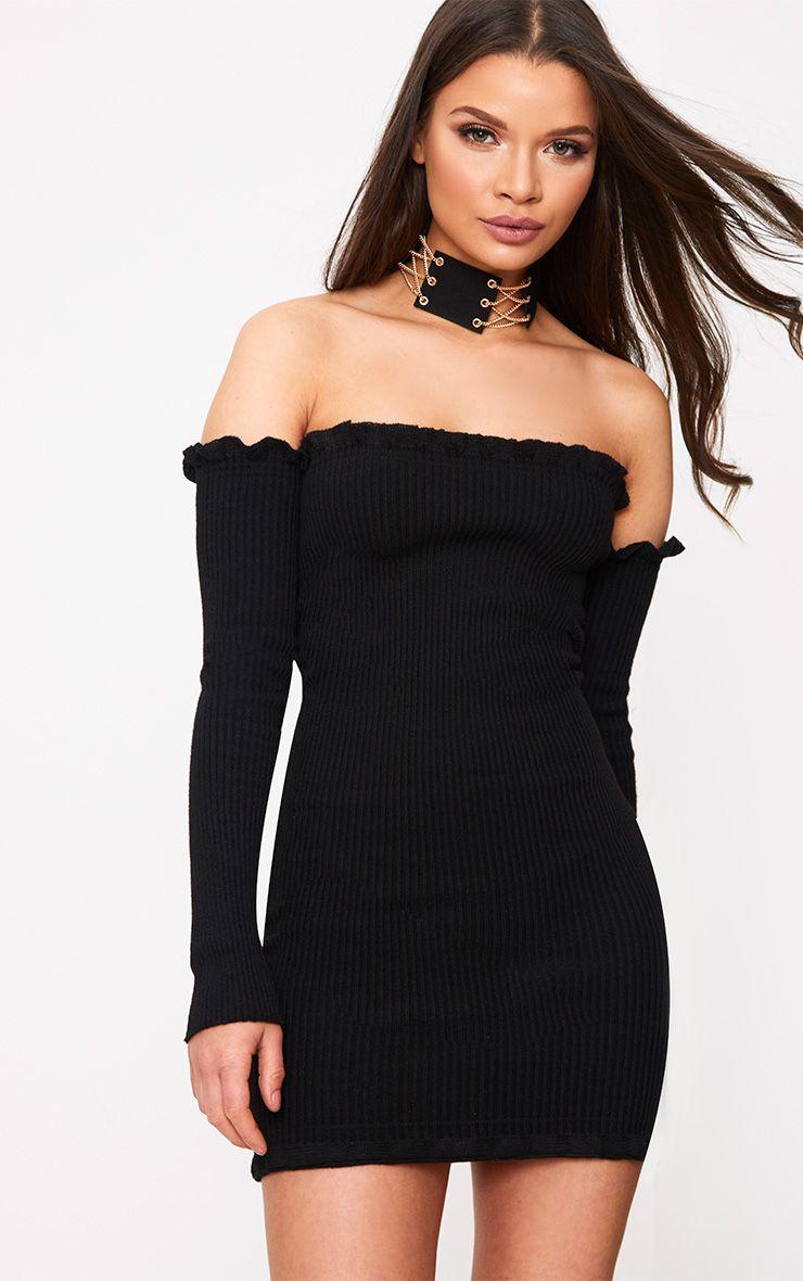 Amarae robe mini bardot noire tricotée à volants
