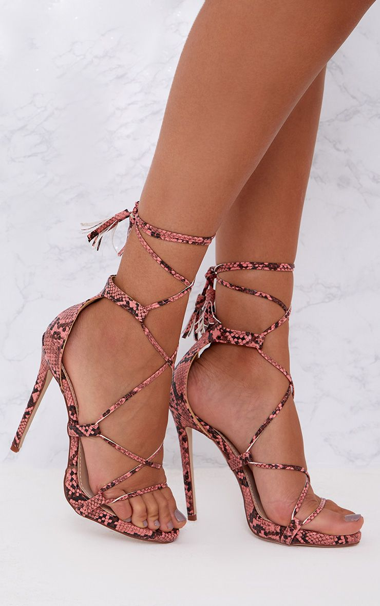 PRETTYLITTLETHING Snake Print Tassel Lace Up Heels Lgg2rW