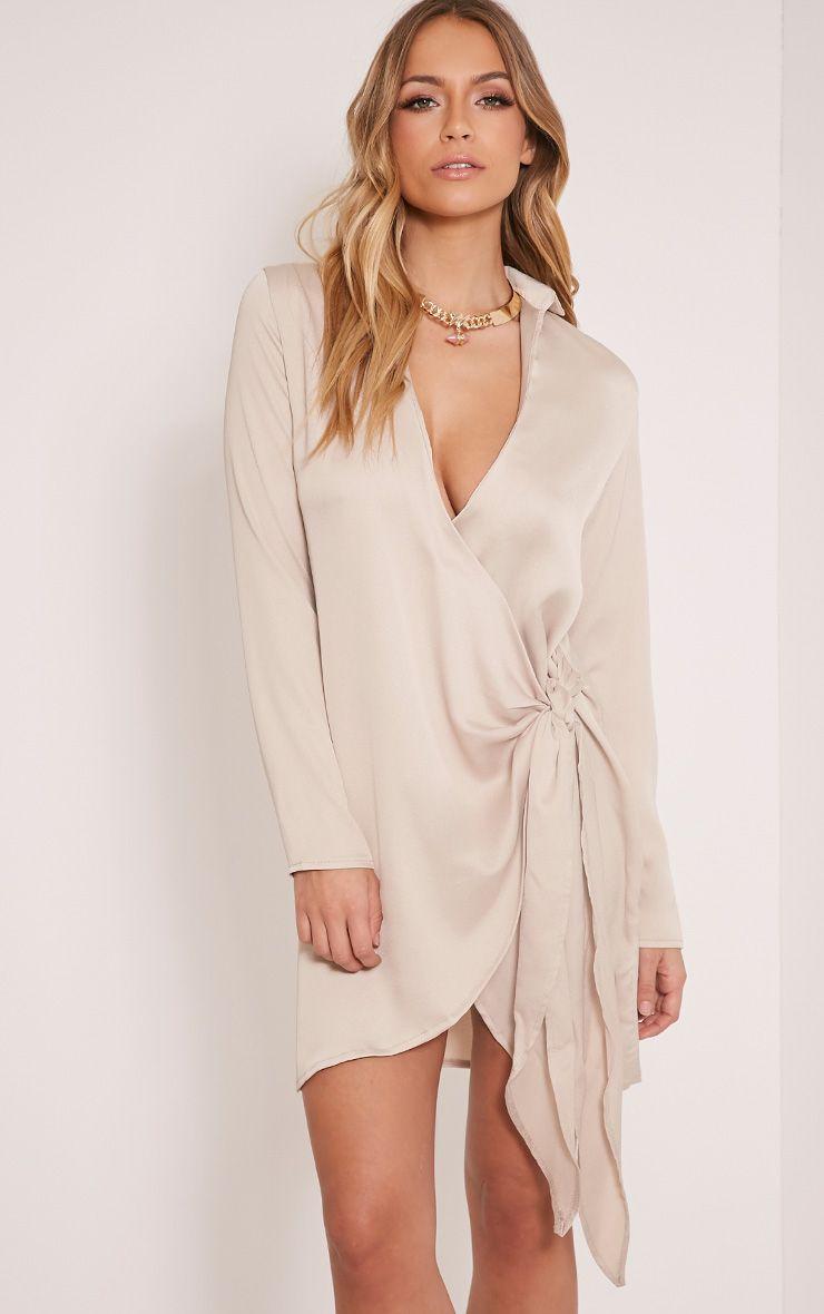 Shaylene Champagne Tie Side Satin Shirt Dress