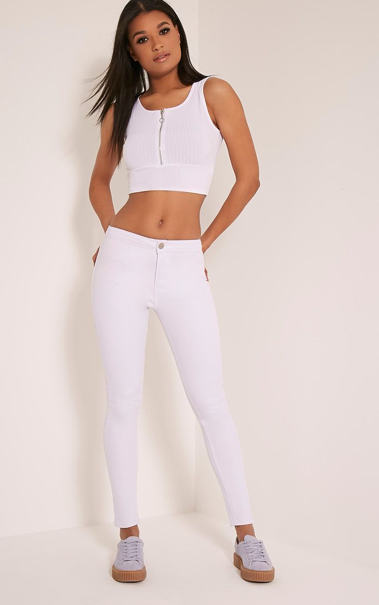 Kylie White Mid Rise Skinny Jeans