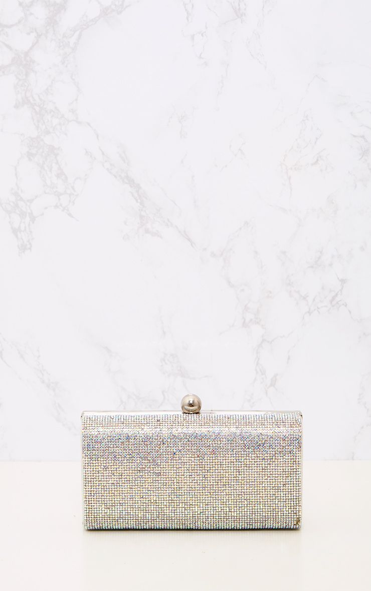 Iridescent Diamante Clutch Bag