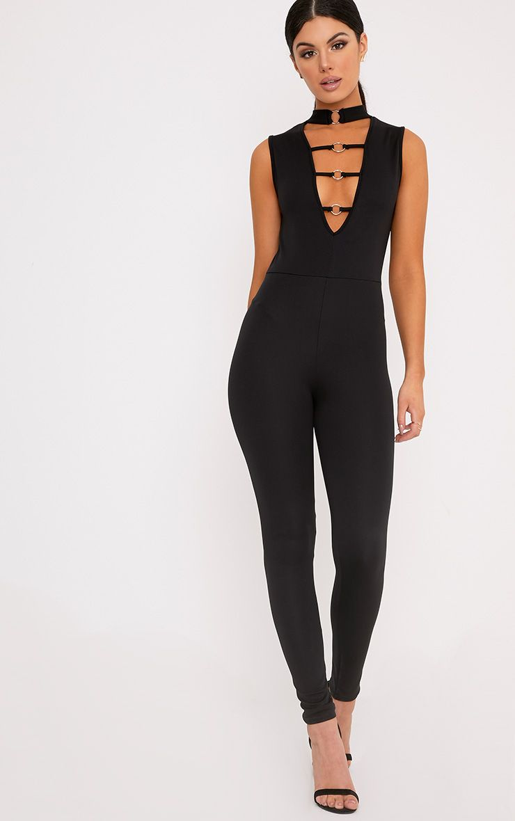 Kathryn Ring Black Plunge Jumpsuit