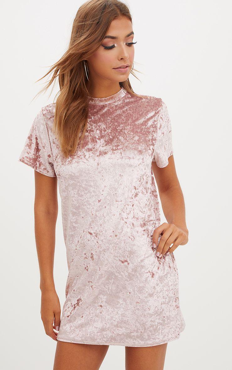 Pink Velvet T Shirt Dress