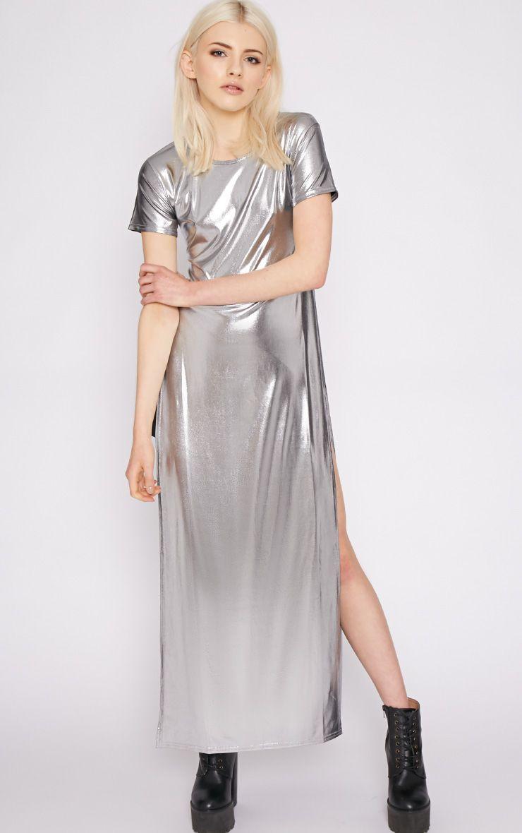 Lina Silver Foil Extreme Slit Tshirt Dress 1