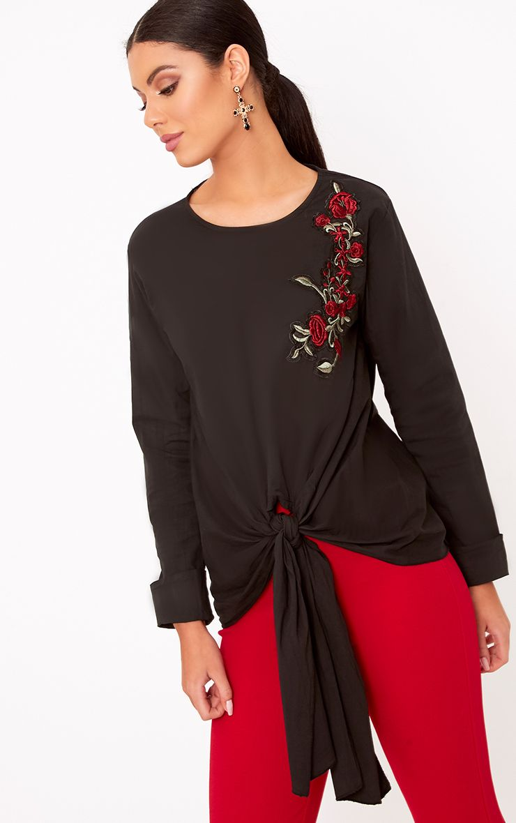 Talin Black Floral Applique Tie Front Shirt