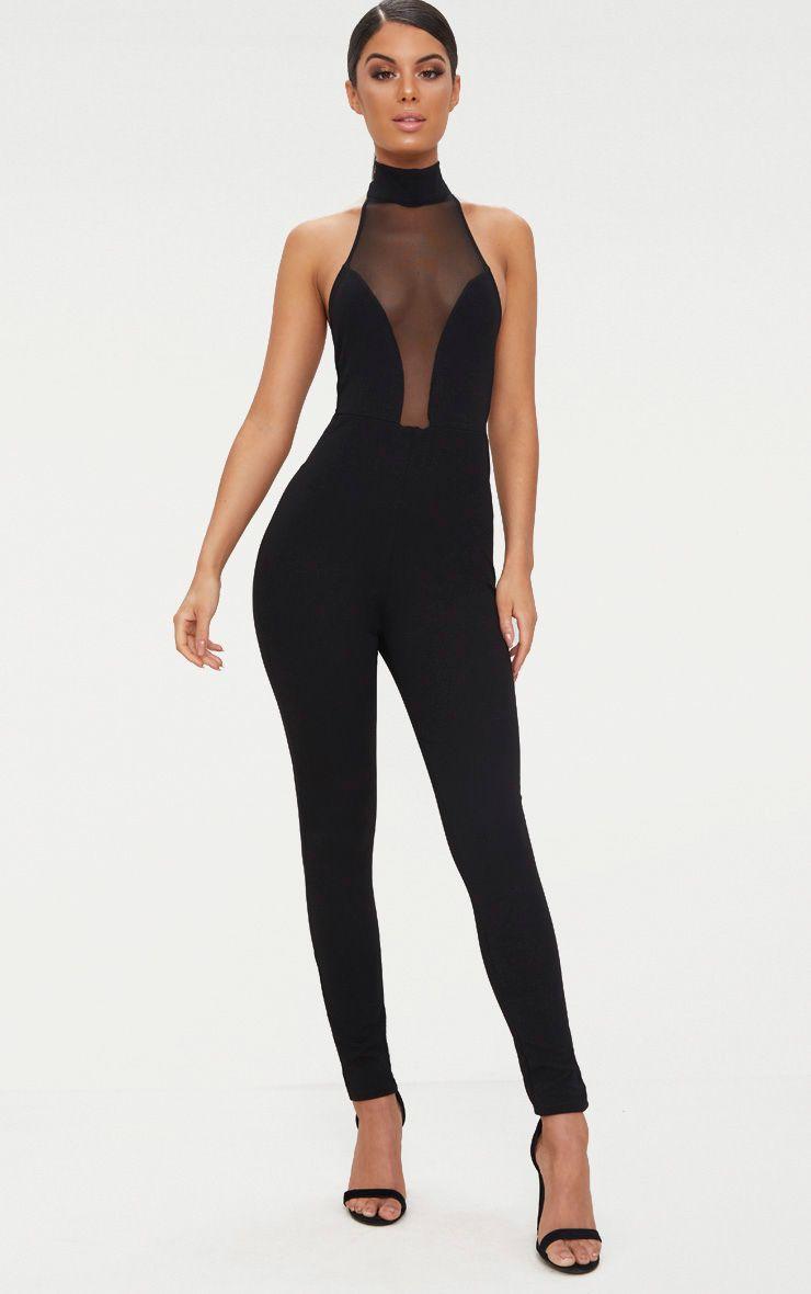 Black Mesh Plunge Jumpsuit