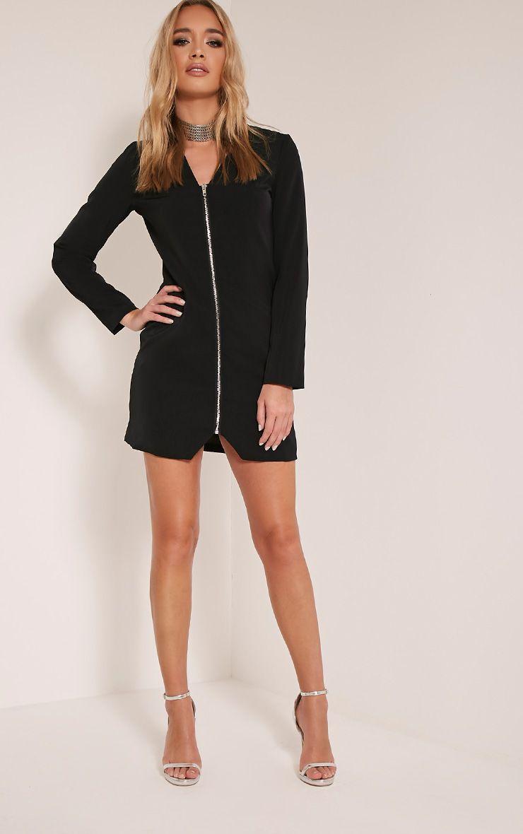 Adel Black Zip Front Crepe Blazer Dress 1