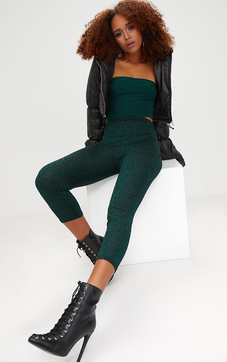 Emerald Green Metallic Cropped Leggings