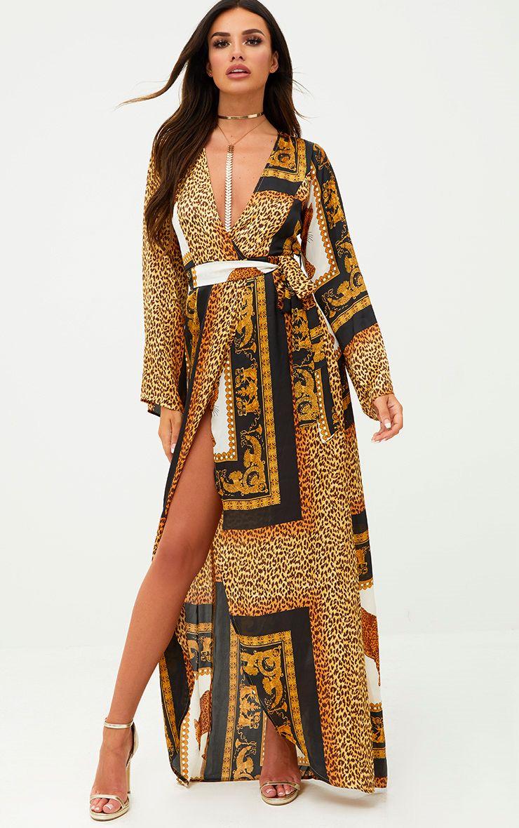 White Scarf Print Satin Kimono Maxi Dress