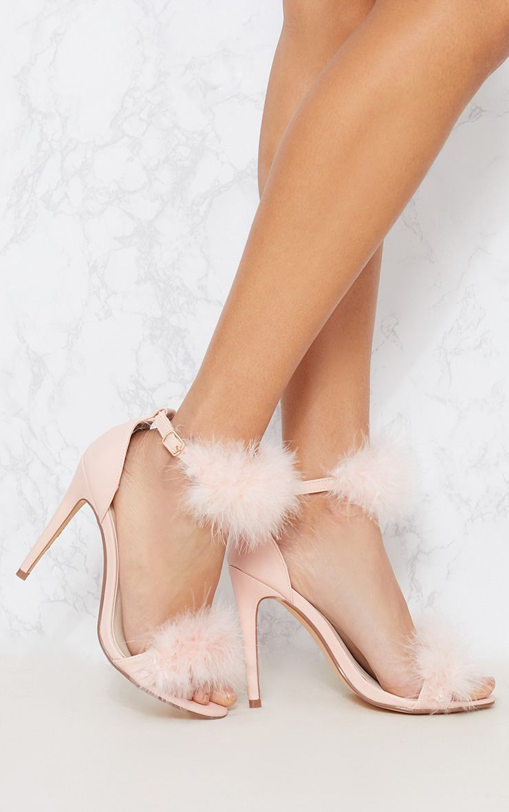 Light Pink Feather Strappy Sandal