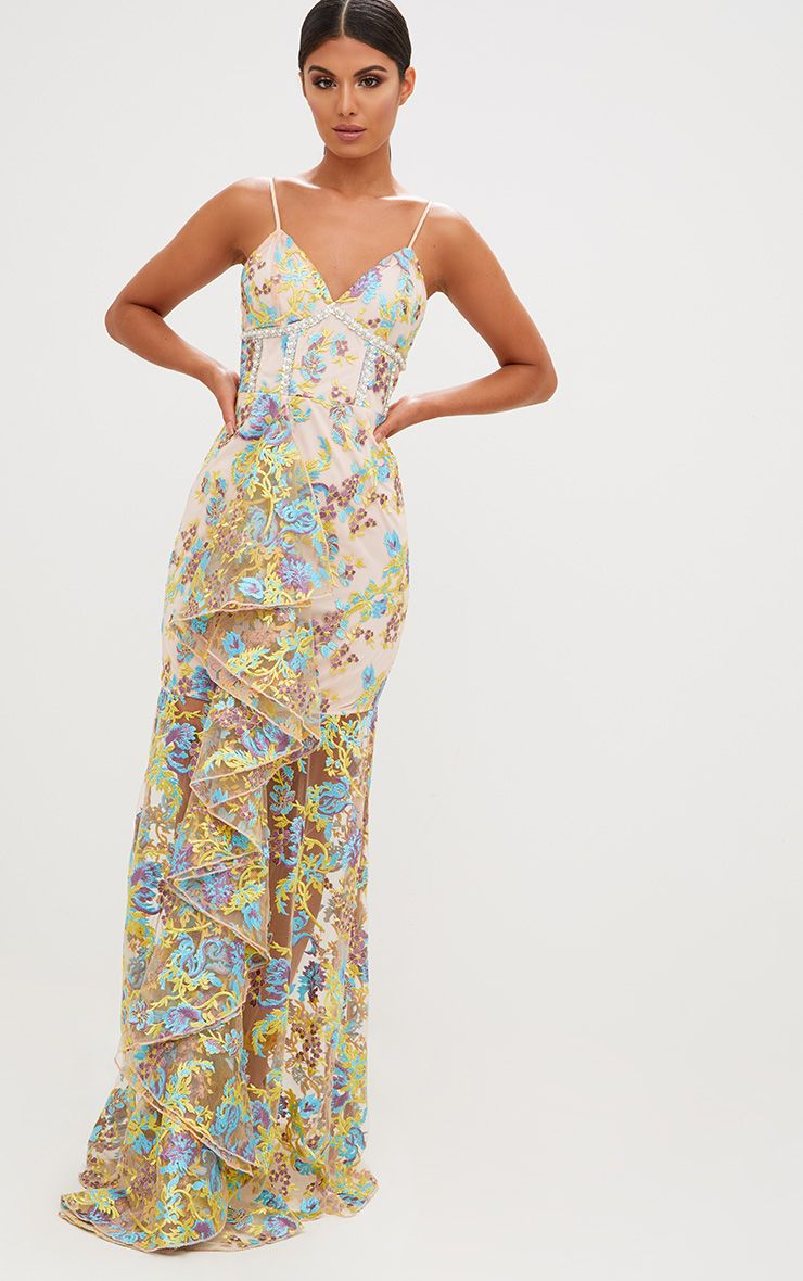 Premium Yellow Floral Embroidered Maxi Dress