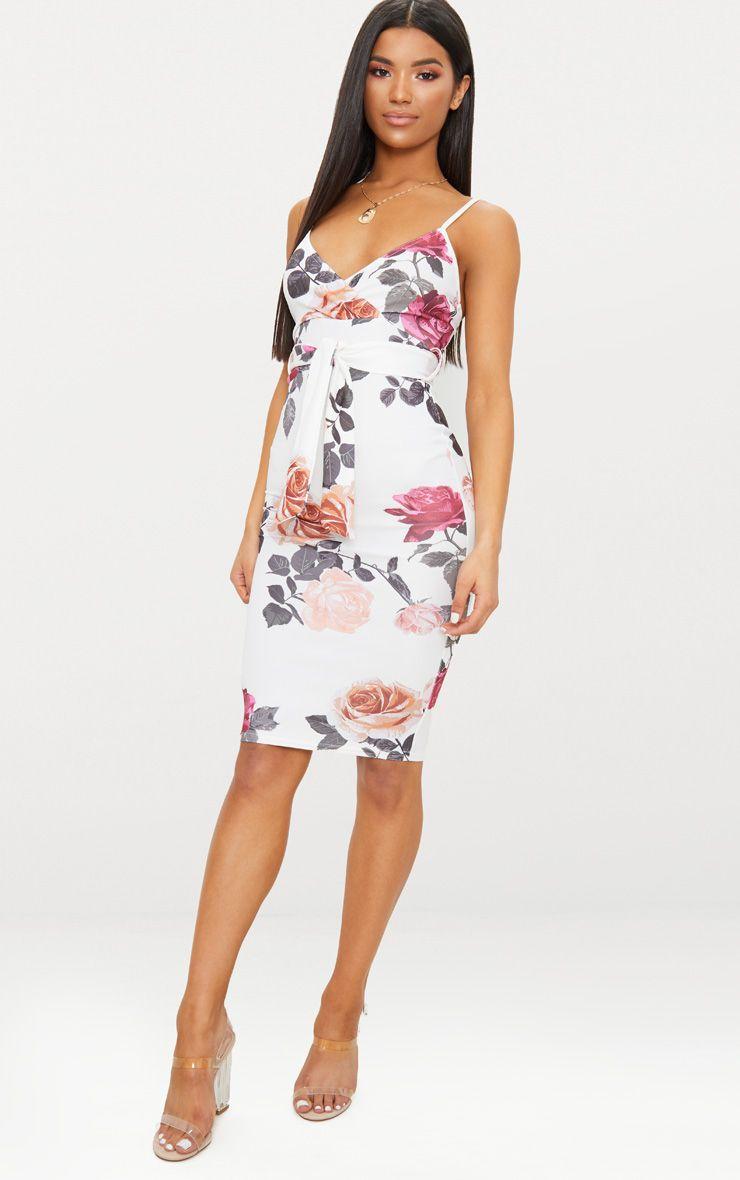 White Floral Print Plunge Tie Detail Midi Dress