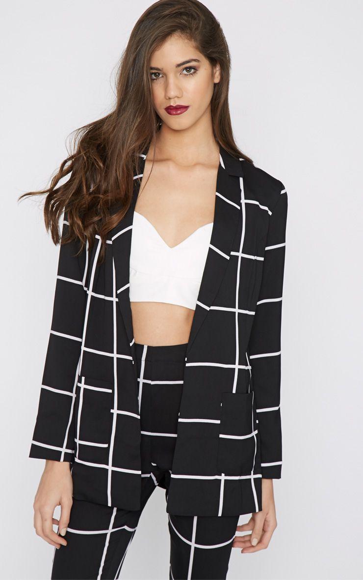 Antonia Monochrome Checked Blazer 1
