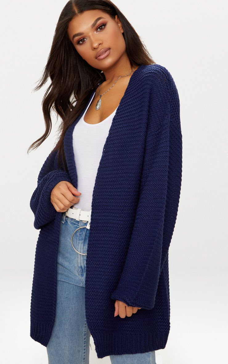 Blue Oversized Chunky Knit Cardigan