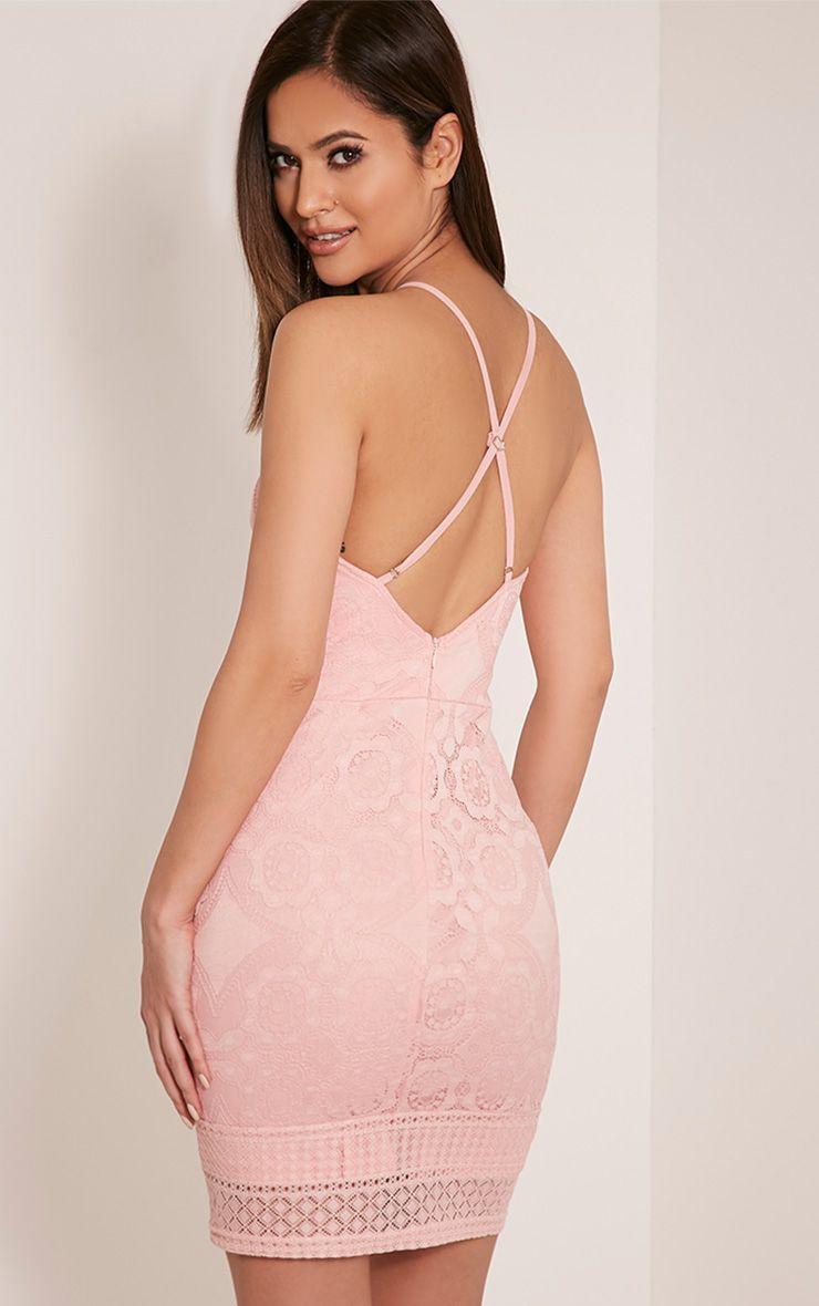 Georgia Dusty Pink Lace Cross Back Bodycon Dress 1