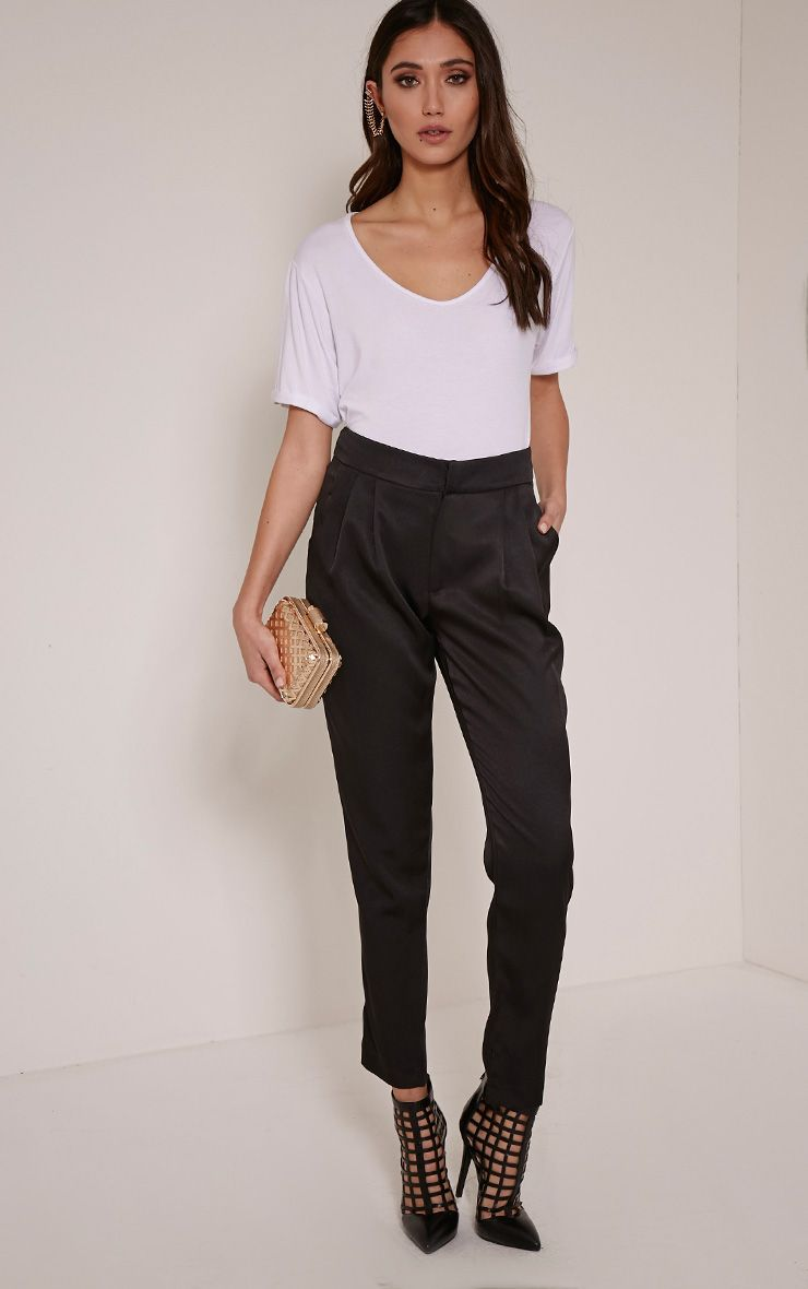Floss Black High Waisted Tapered Trousers 1