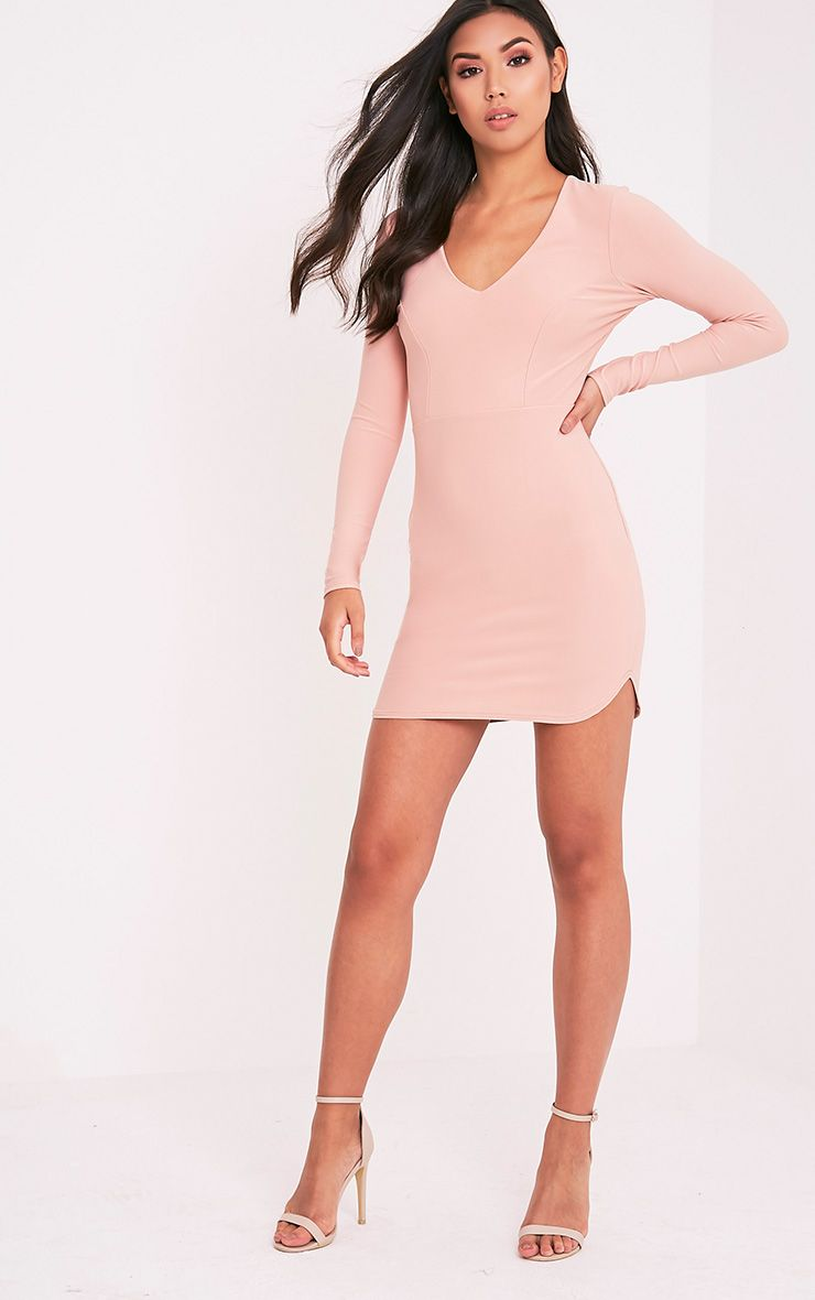 Shylo Blush Long Sleeve Plunge Bodycon Dress 1