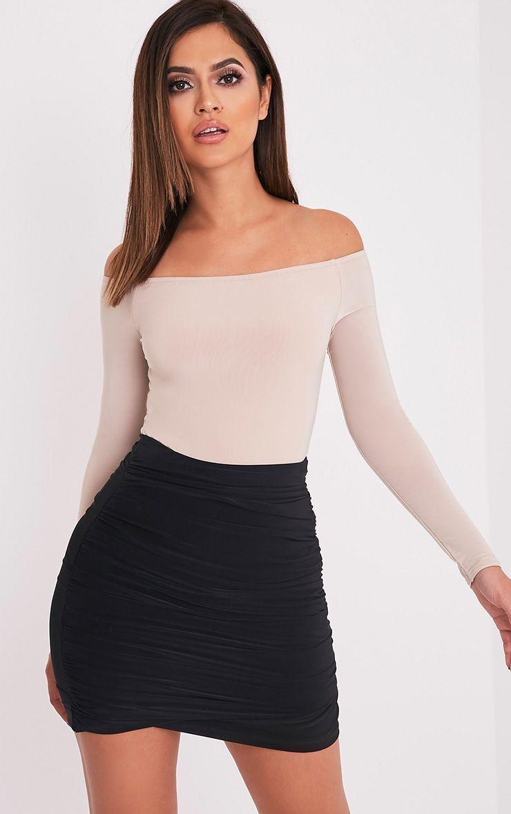 Sabina Black Ruched Layered Slinky Mini Skirt