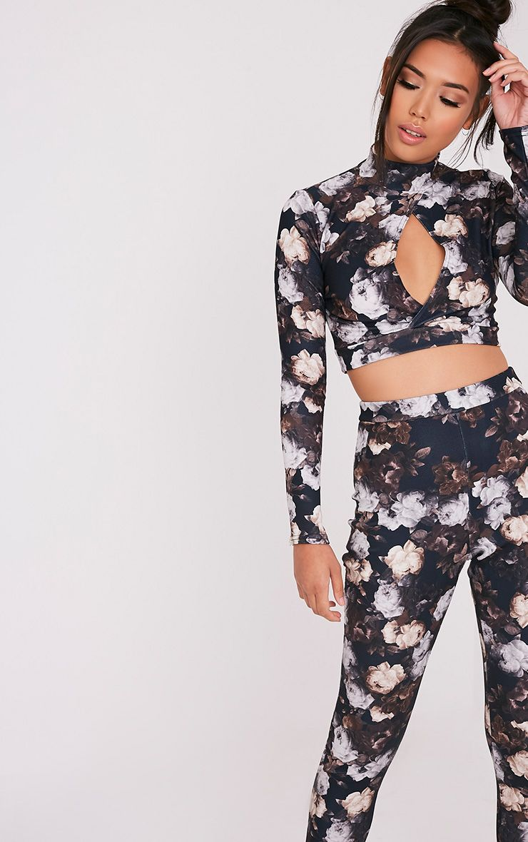 Calissa Black Floral Open Front Long Sleeve Crop Top 1