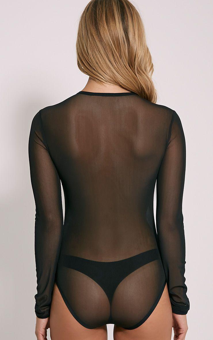 Tia Black Mesh Floral Bodysuit Tops Prettylittlething