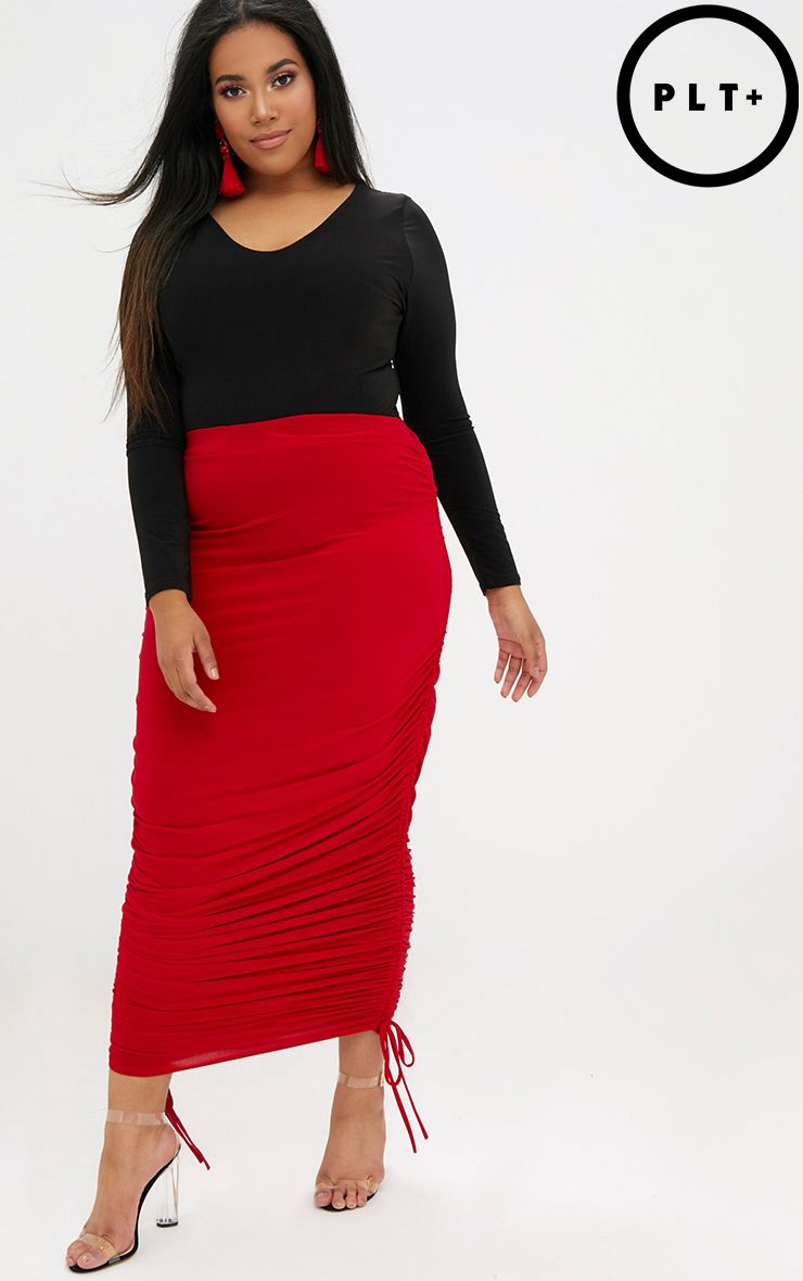 Plus Red Ruched Side Slinky Midaxi Skirt