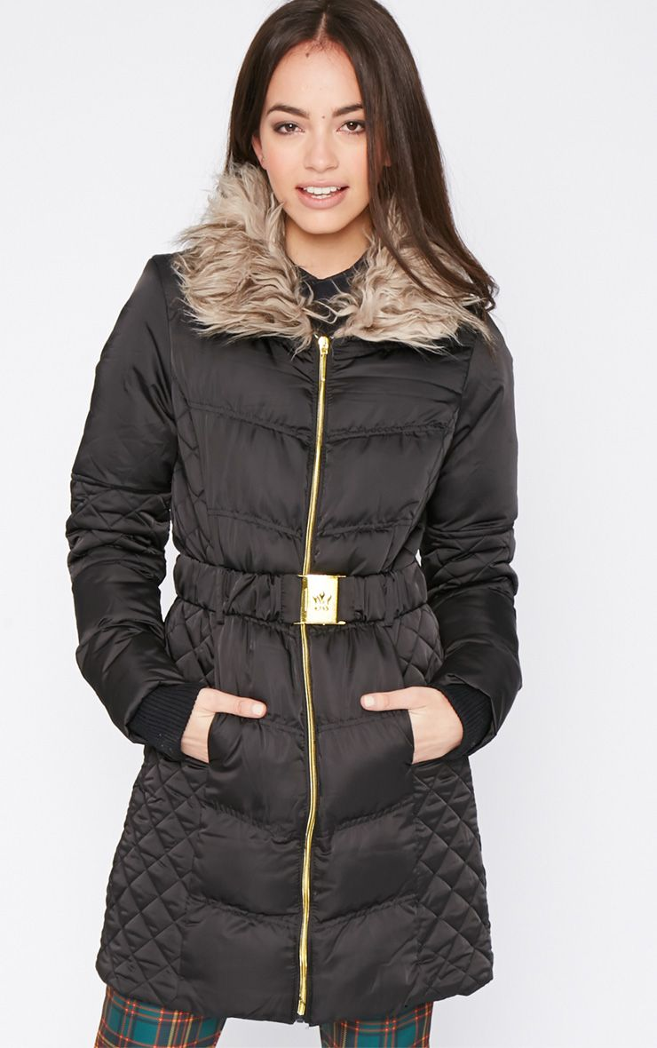 Nita Black Longline Fur Collar Belted Bubble Coat-16 1