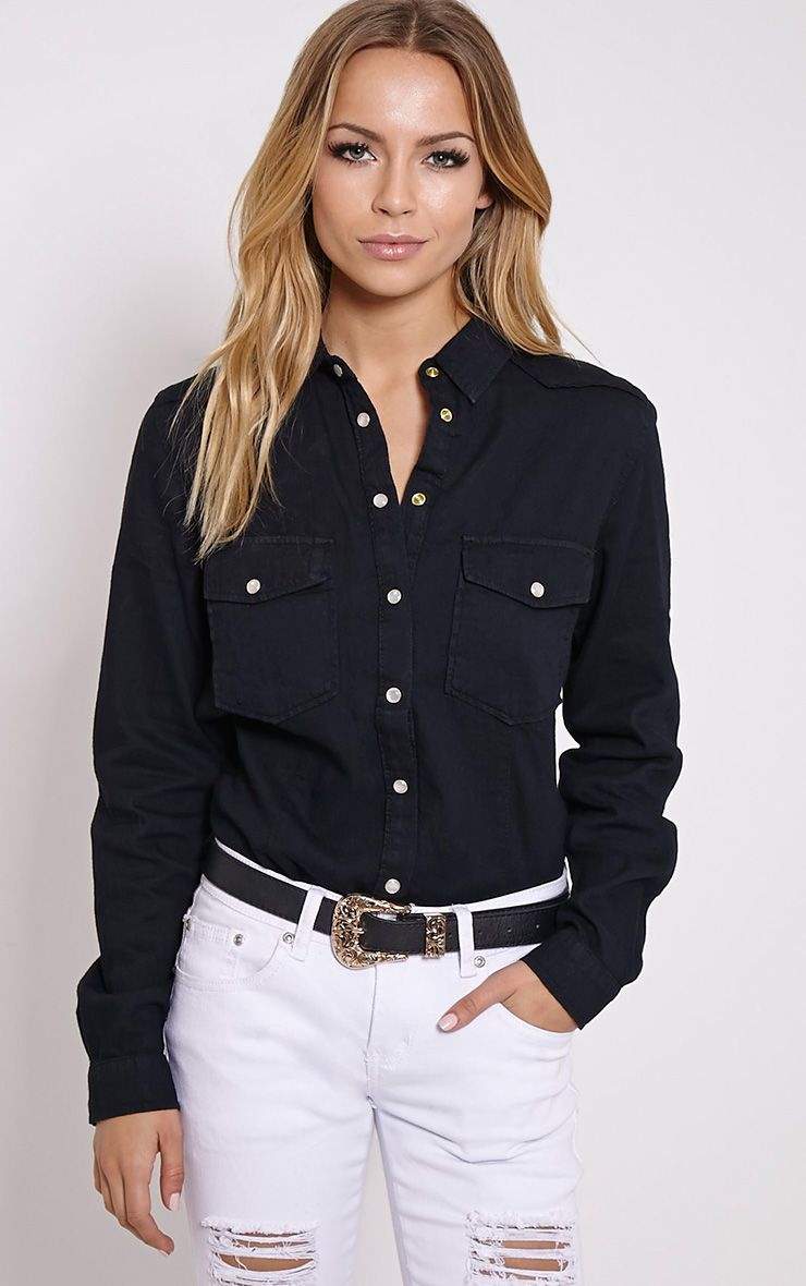 Eedie Black Fitted Denim Shirt 1