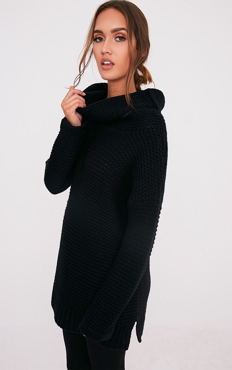 Camarina pull tricoté surdimensionné à col roulé noir 4