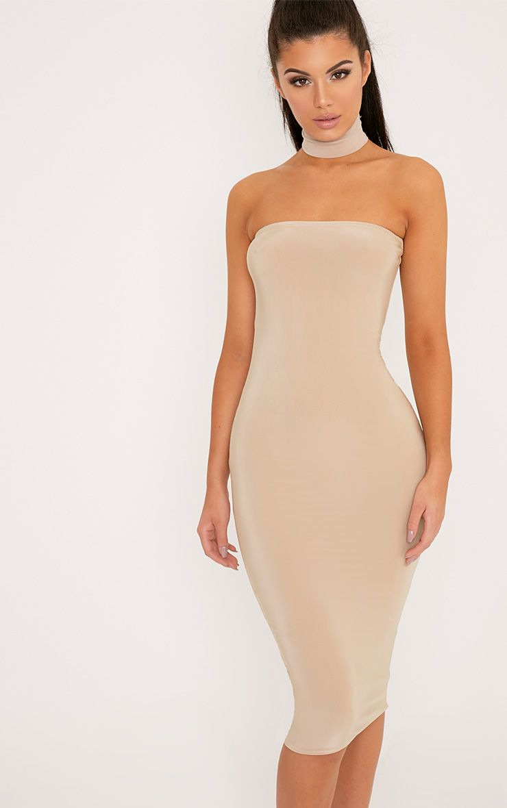 Kia Stone Bandeau Slinky Midi Dress