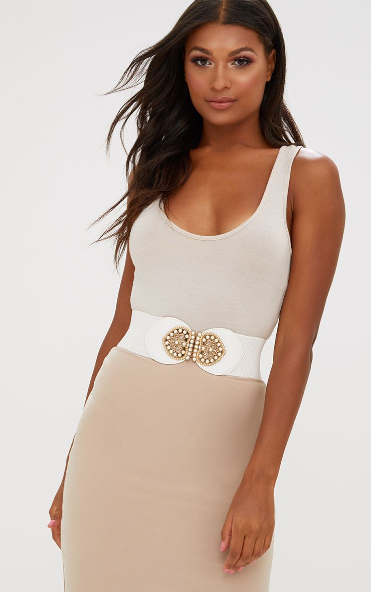 White Baroque Detail Waist Belt