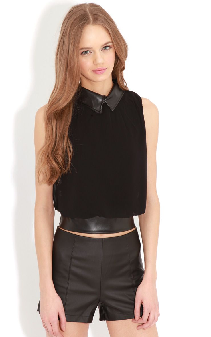 Eden Black Chiffon Blouse With Faux Leather Collar 1