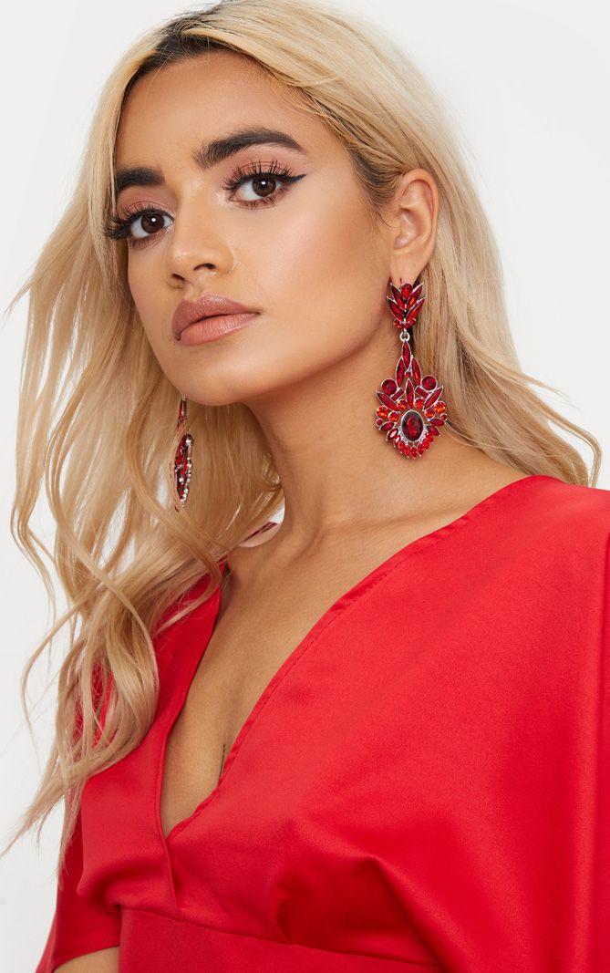 Red Diamante Detail Drop Earrings
