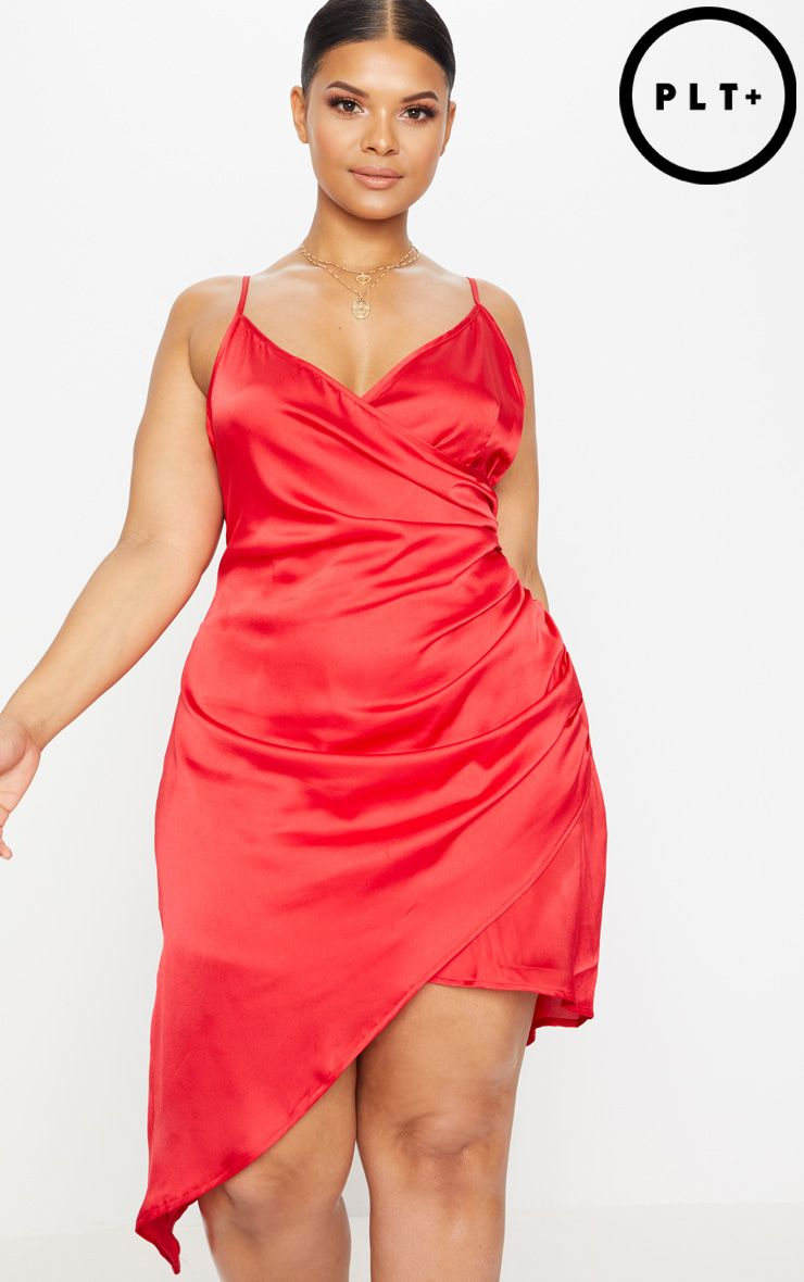 Plus Red Satin Wrap Dress