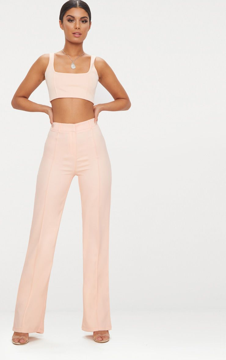 Blush High Waisted Straight Leg Trousers