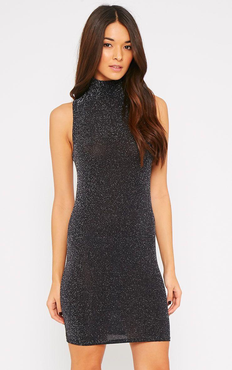 Melanie Black Glitter Turtle Neck Dress-S/M 1