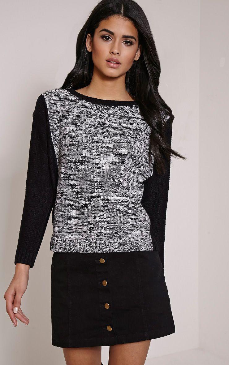 Lizbeth Black Colour Block Knitted Jumper 1