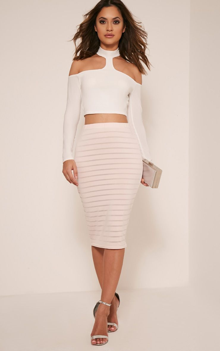 Susanah Nude Sheer Stripe Midi Skirt 1