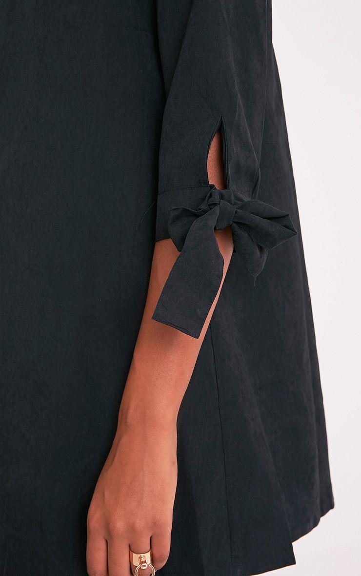 Maysia robe chemise détail manchettes noire 6