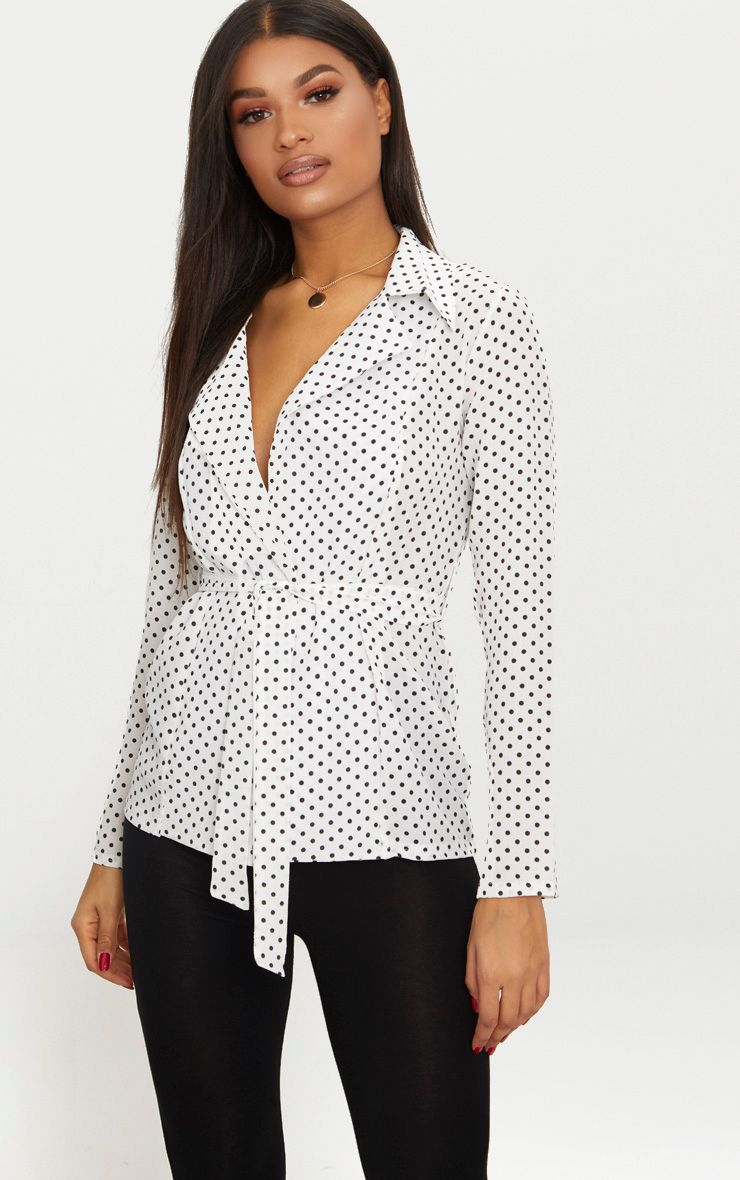 White Polka Dot Belted Blazer