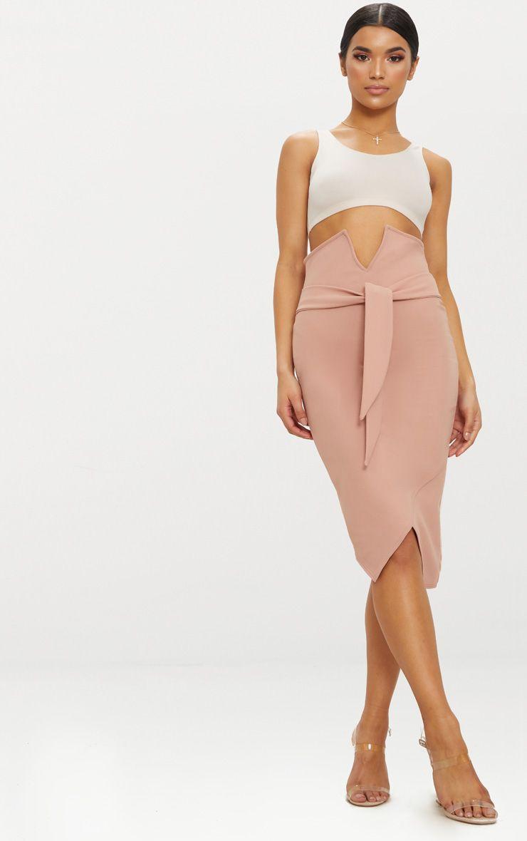 Rose Crepe Tie Waist Skirt